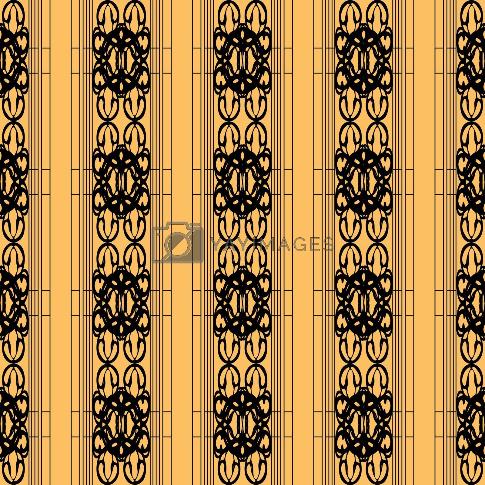 elegant black and gold ornament or wallpaper pattern with striped tracery