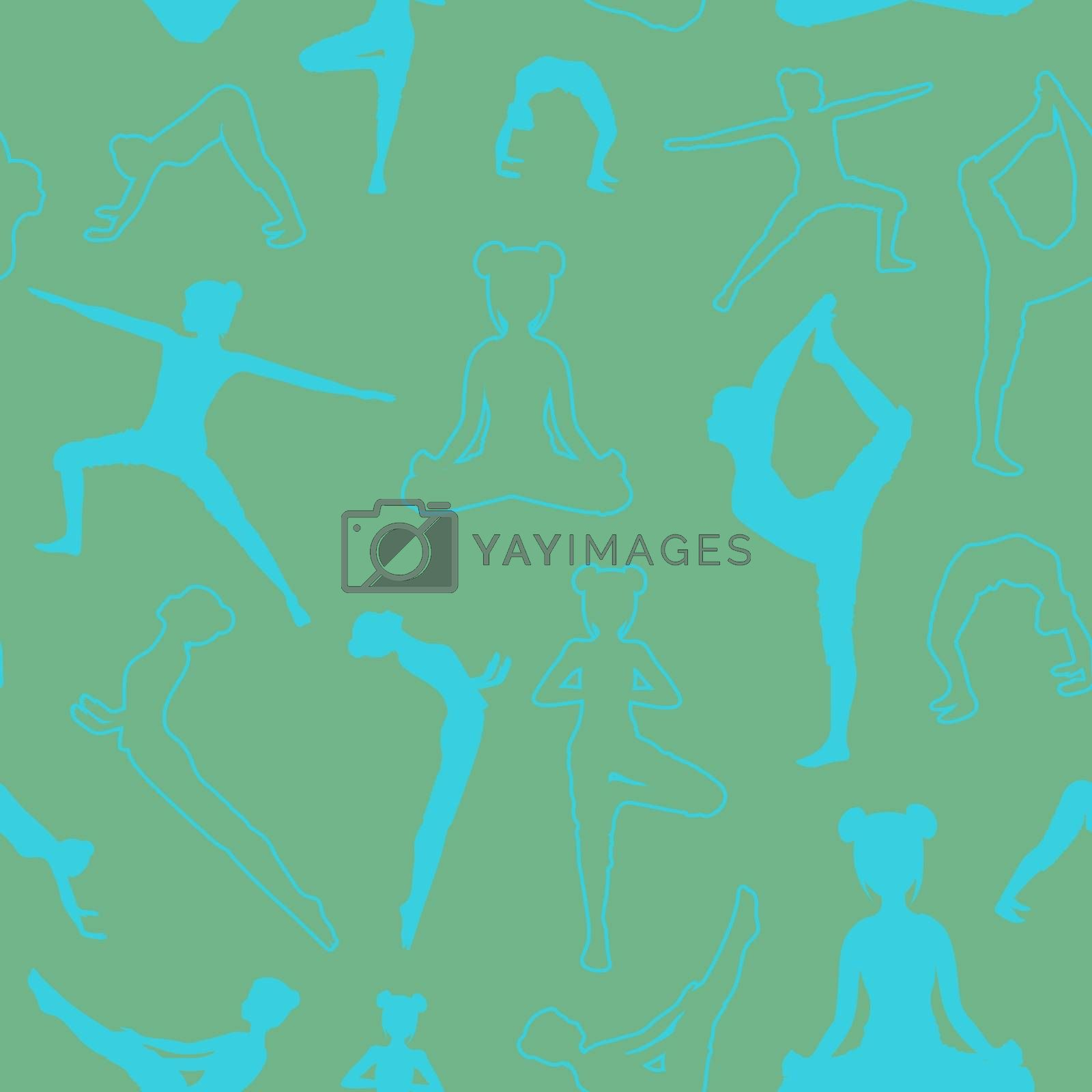 monnochrome turquoise seamless pattern with girls doing yoga poses in unobtrusive colors