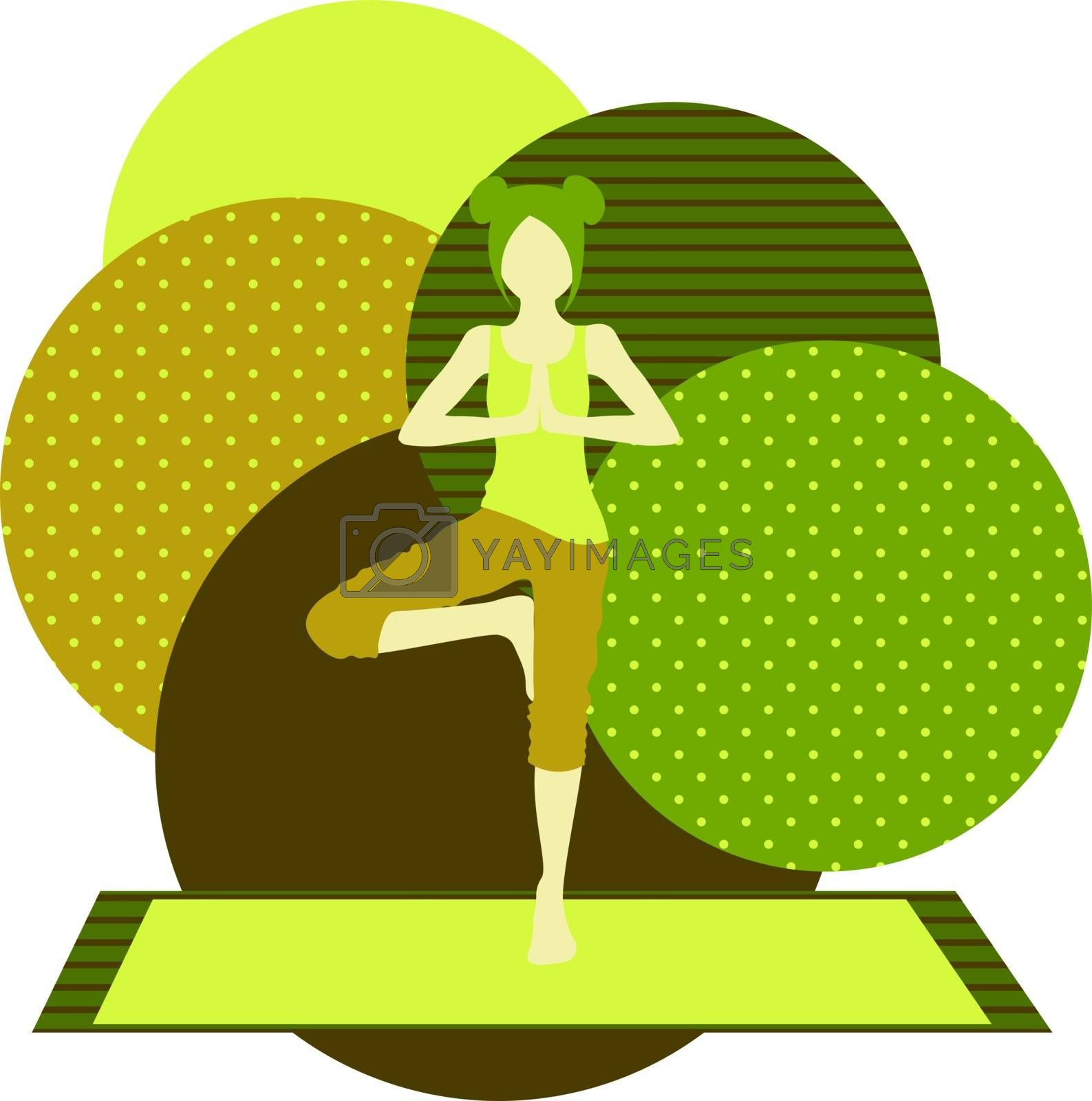 colorful illustration with cute faceless gril doing tree asana on green background