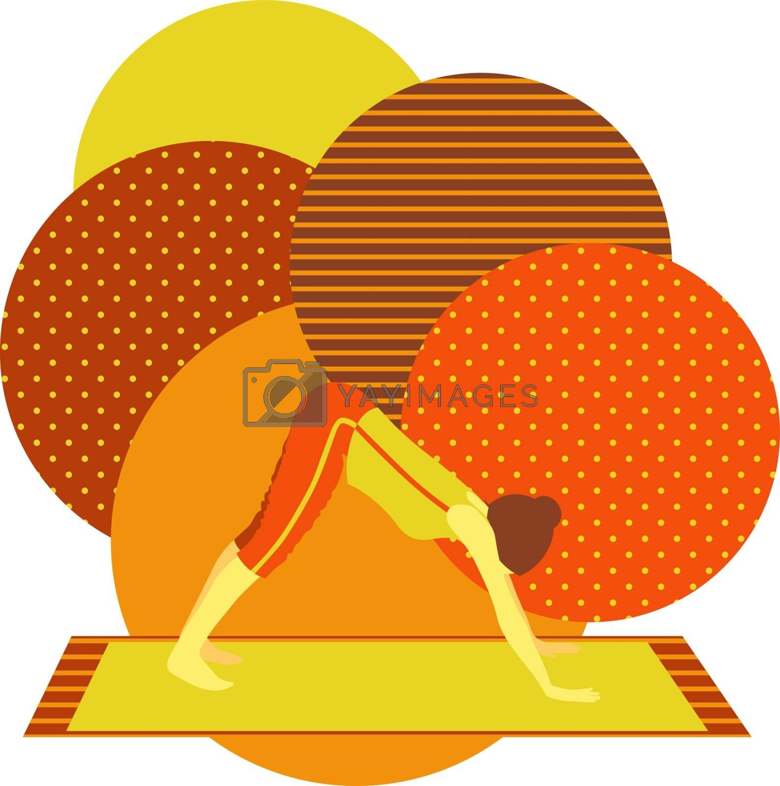 colorful illustration with cute faceless gril doing downward facing dog asana on orange background