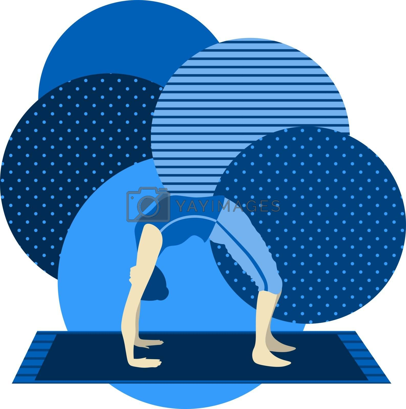colorful illustration with cute faceless gril doing bridge asana on blue background
