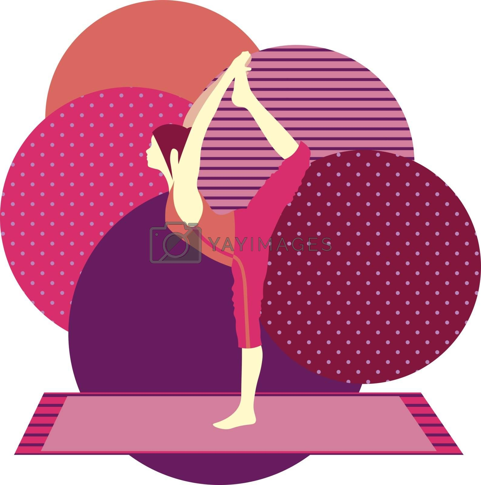 colorful illustration with cute faceless gril doing lord of dance asana on purple background