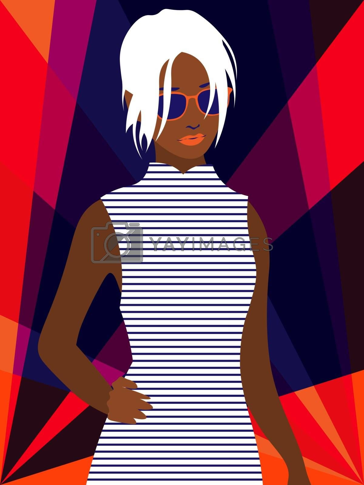 beautiful afro american woman with platinum hair in striped dress and sunglasses on bright background