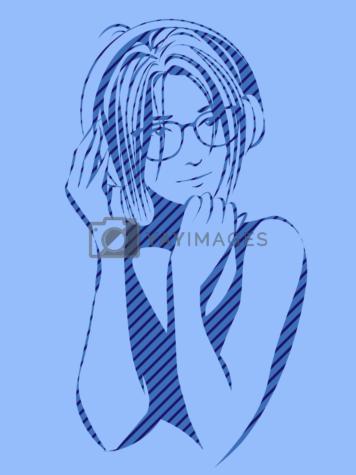 monochrome blue portrait of girl in glasses and big headphones