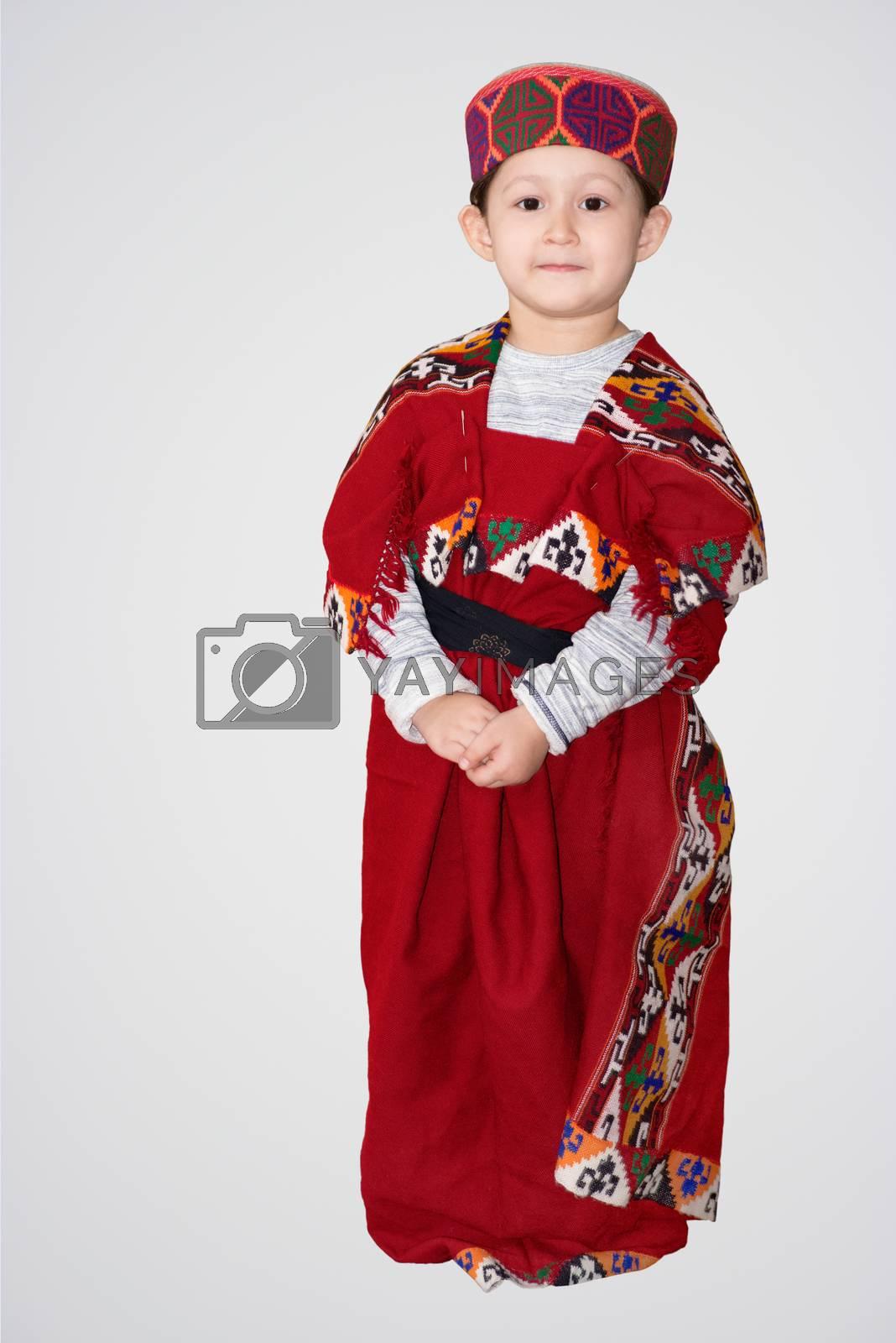 Cute little girl in Himachali traditional dress, Shimla, Himachal Pradesh.
