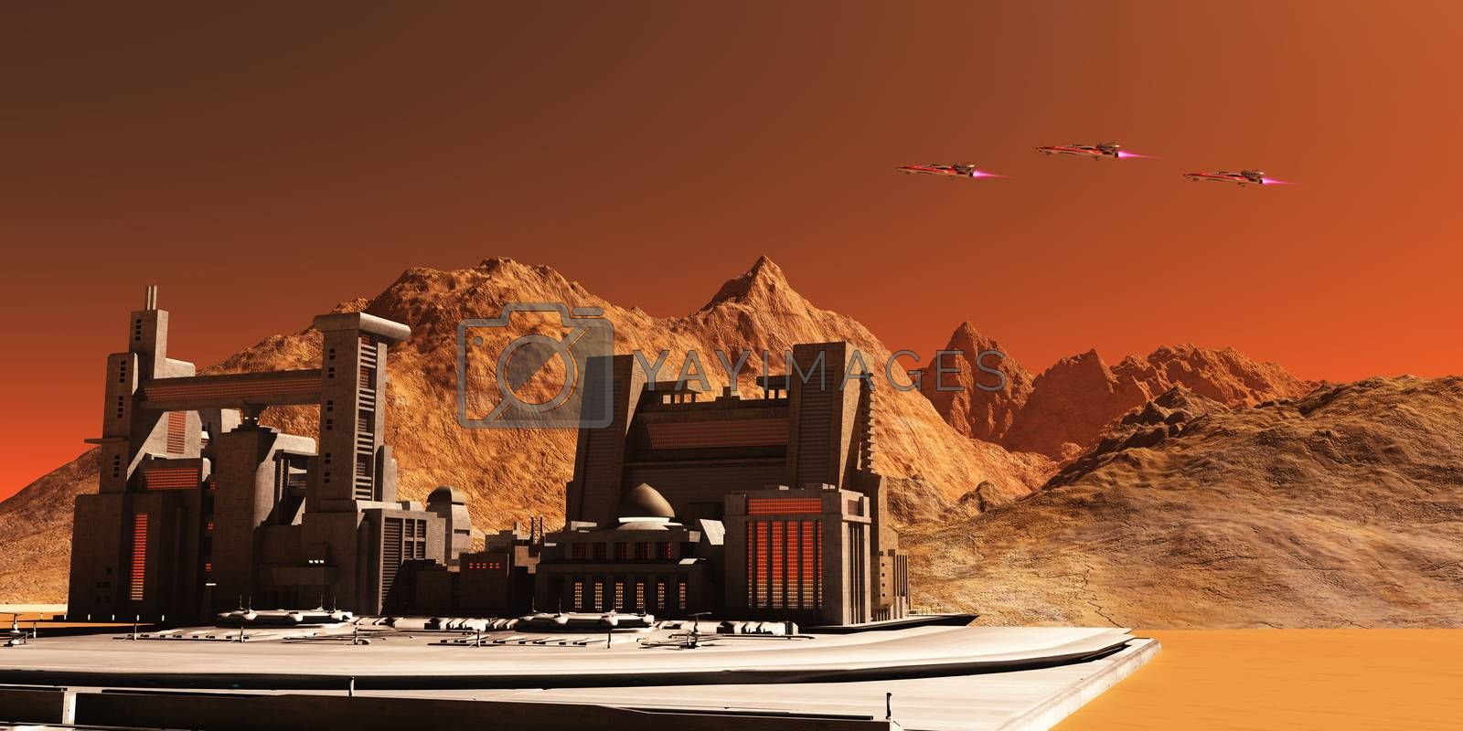Three spacecraft fly near an installation habitat on the red planet of Mars in the future.