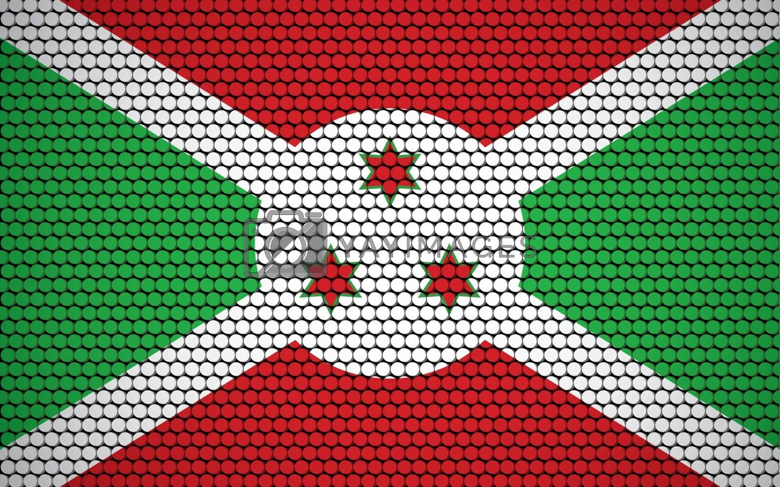 Abstract flag of Burundi made of circles. Burundian flag designed with colored dots giving it a modern and futuristic abstract look.