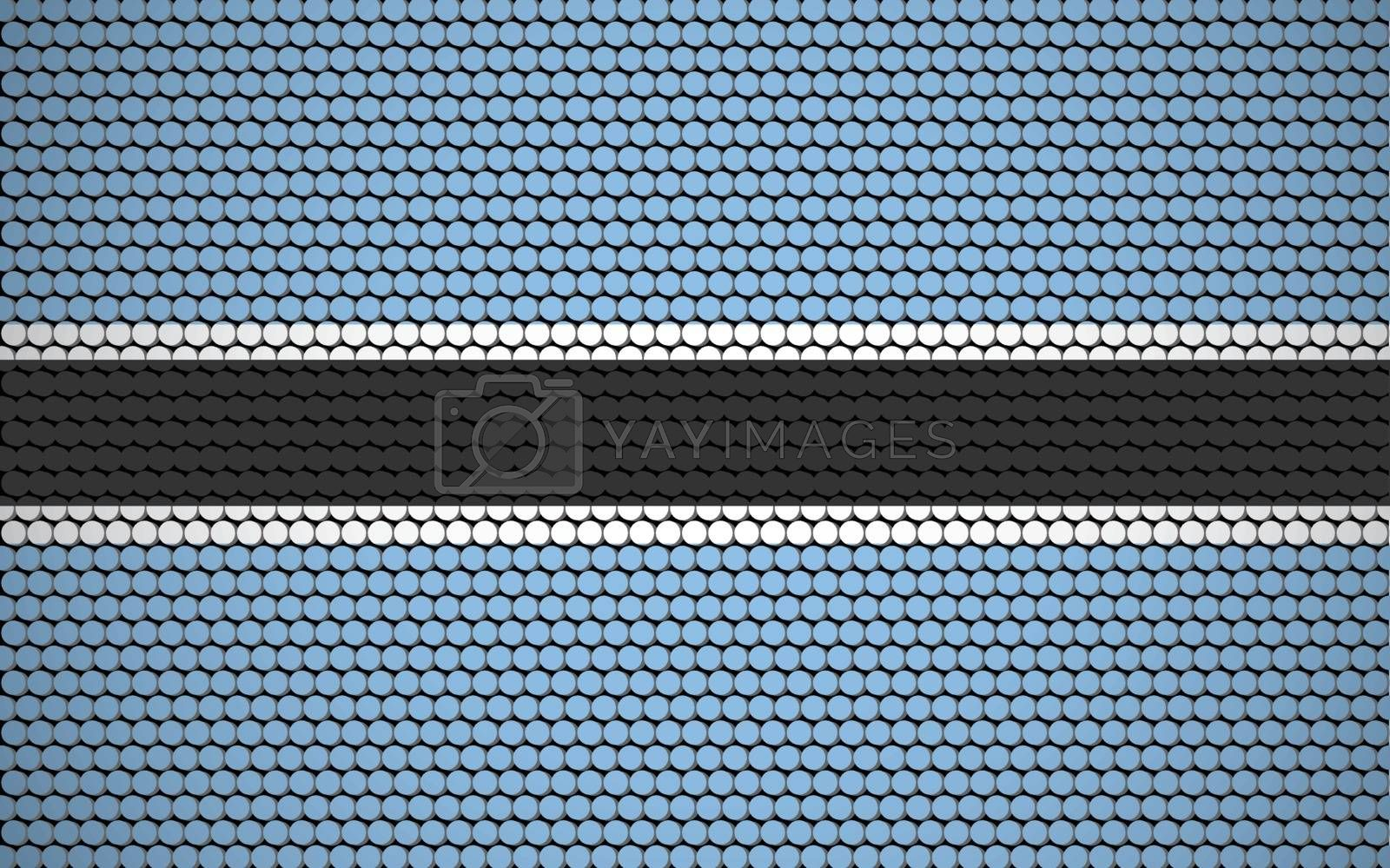 Abstract flag of Botswana made of circles. Batswana flag designed with colored dots giving it a modern and futuristic abstract look.
