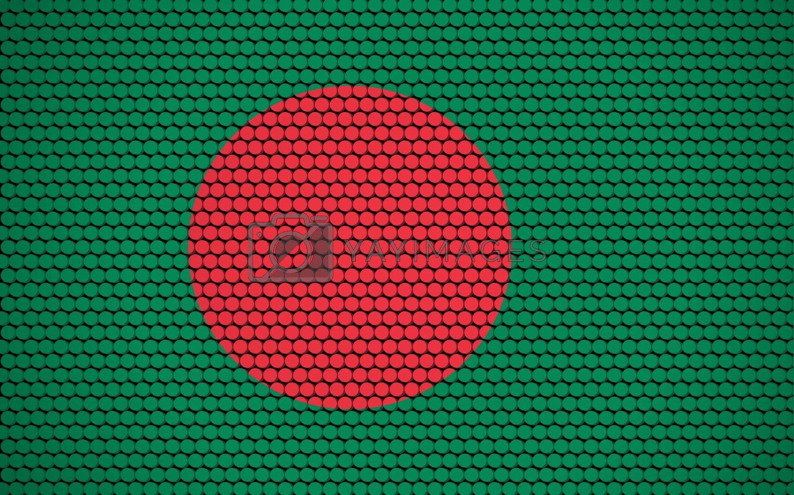 Abstract flag of Bangladesh made of circles. Bangladeshi flag designed with colored dots giving it a modern and futuristic abstract look.
