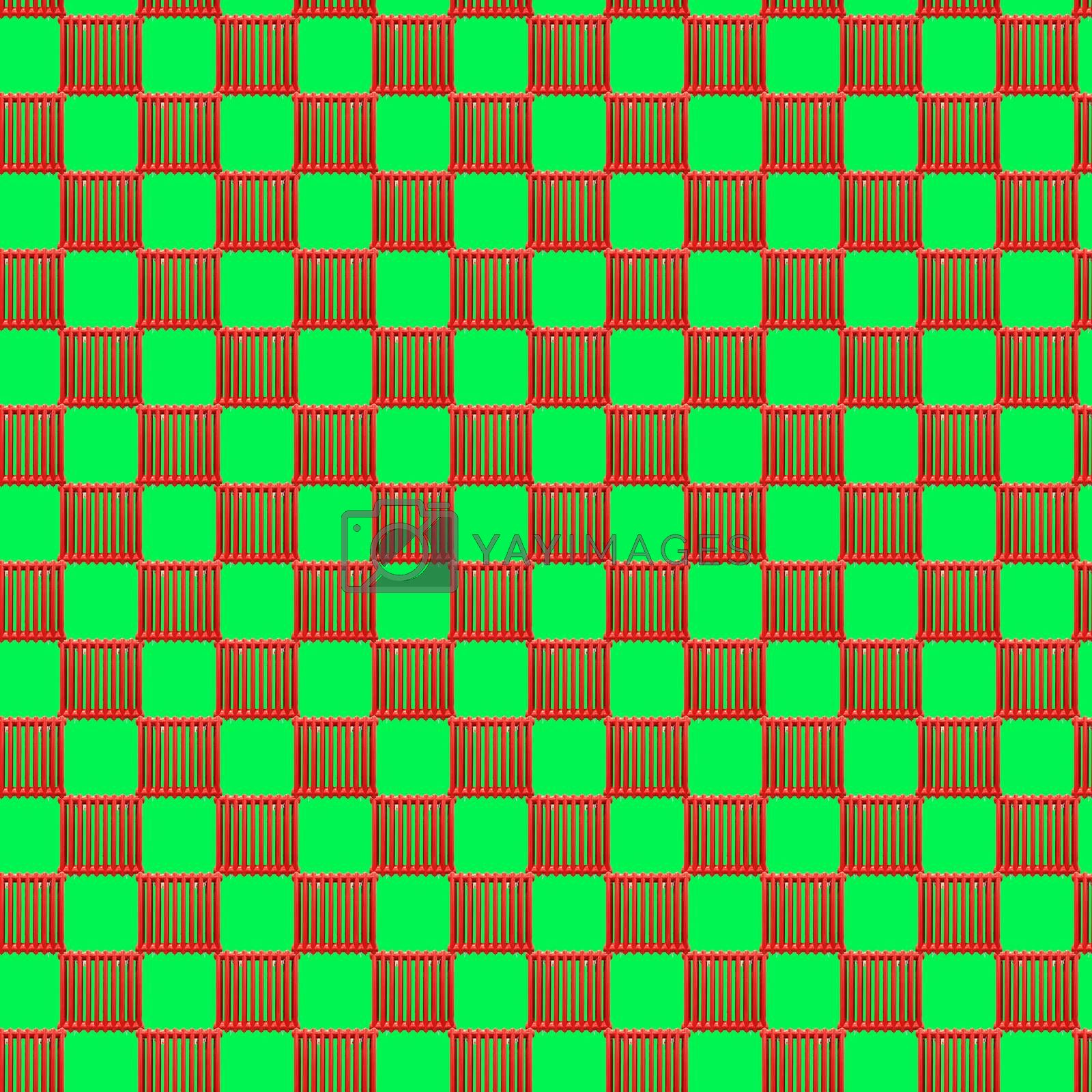 Seamless pattern with red heating radiator on a light green background. Modern style isometric concept.