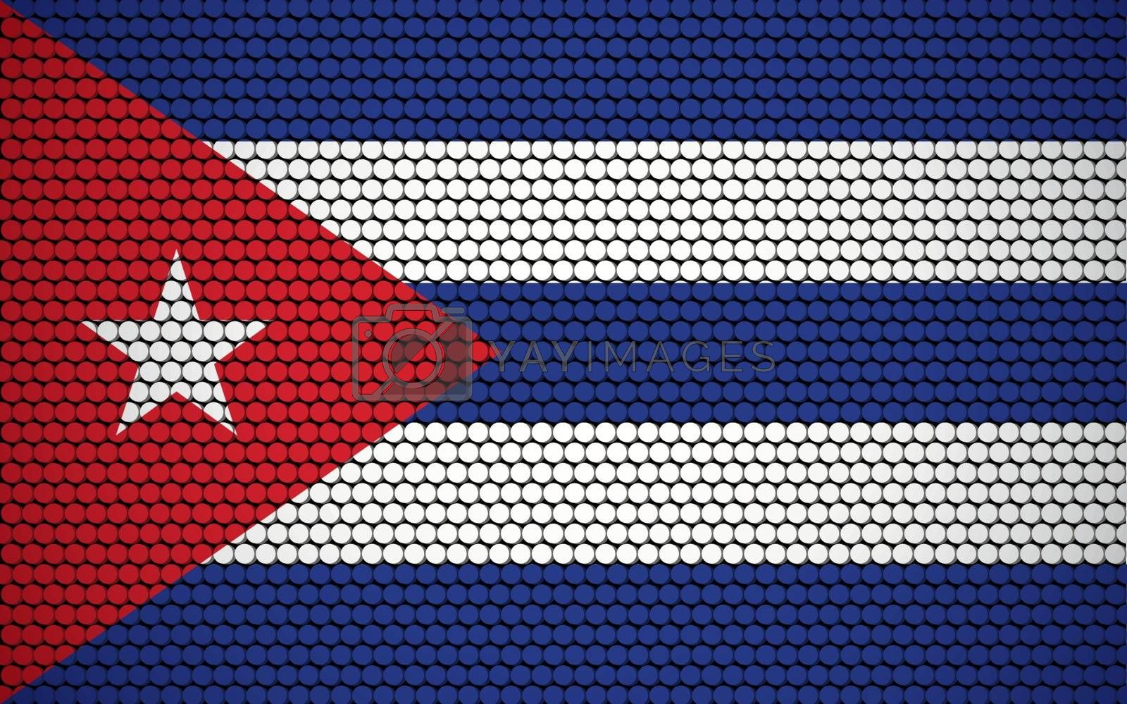 Abstract flag of Cuba made of circles. Cuban flag designed with colored dots giving it a modern and futuristic abstract look.