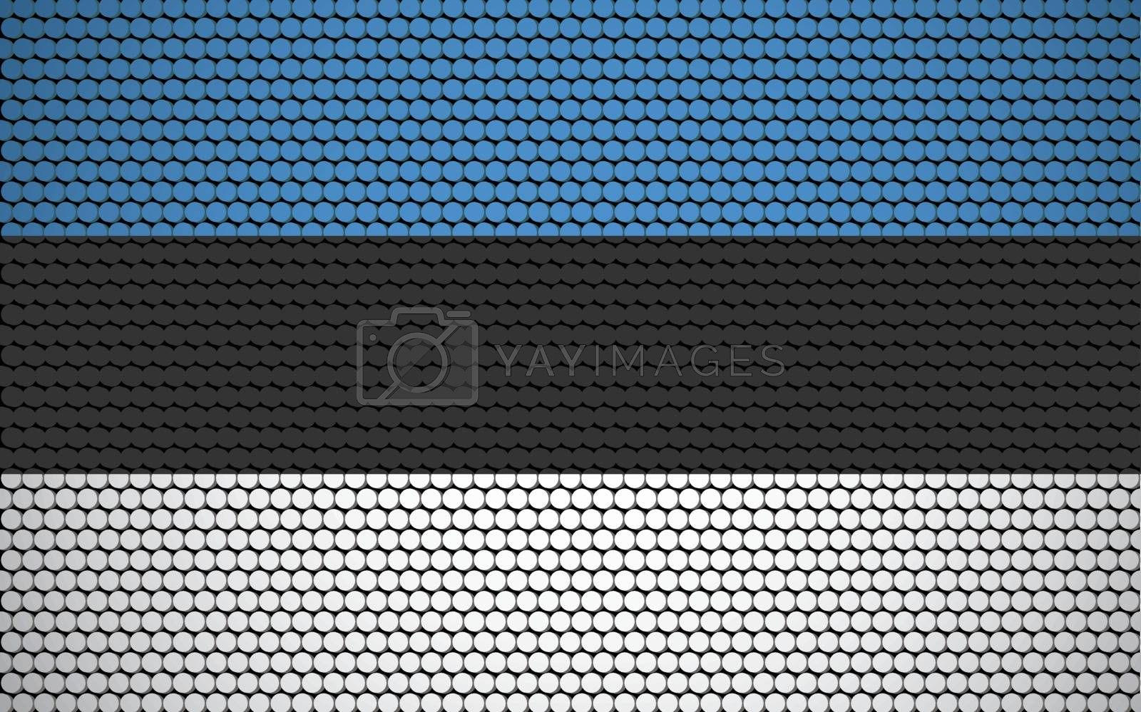 Abstract flag of Estonia made of circles. Estonian flag designed with colored dots giving it a modern and futuristic abstract look.