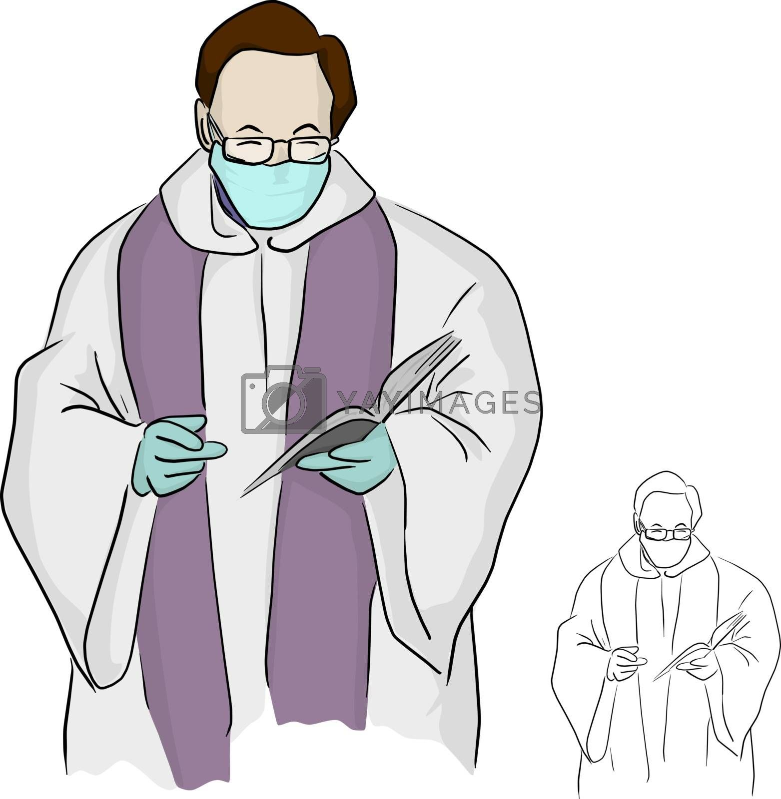 priest or pastor with surgical mask giving a funeral service in Covid-19 situation vector illustration sketch doodle hand drawn isolated on white background