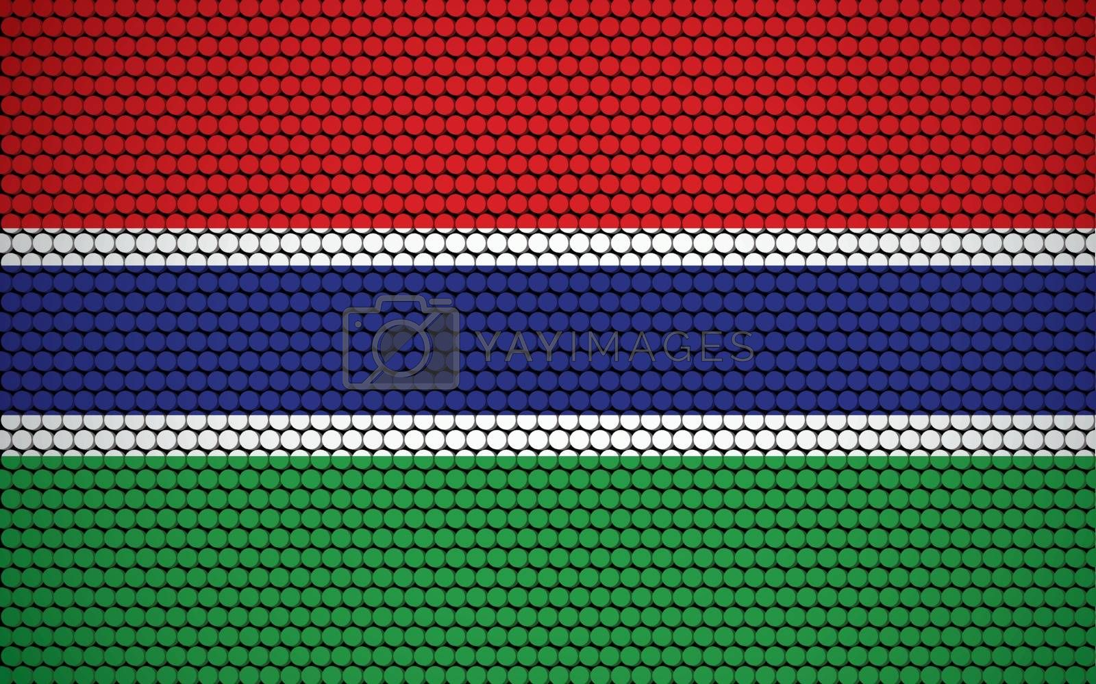 Abstract flag of Gambia made of circles. Gambian flag designed with colored dots giving it a modern and futuristic abstract look.