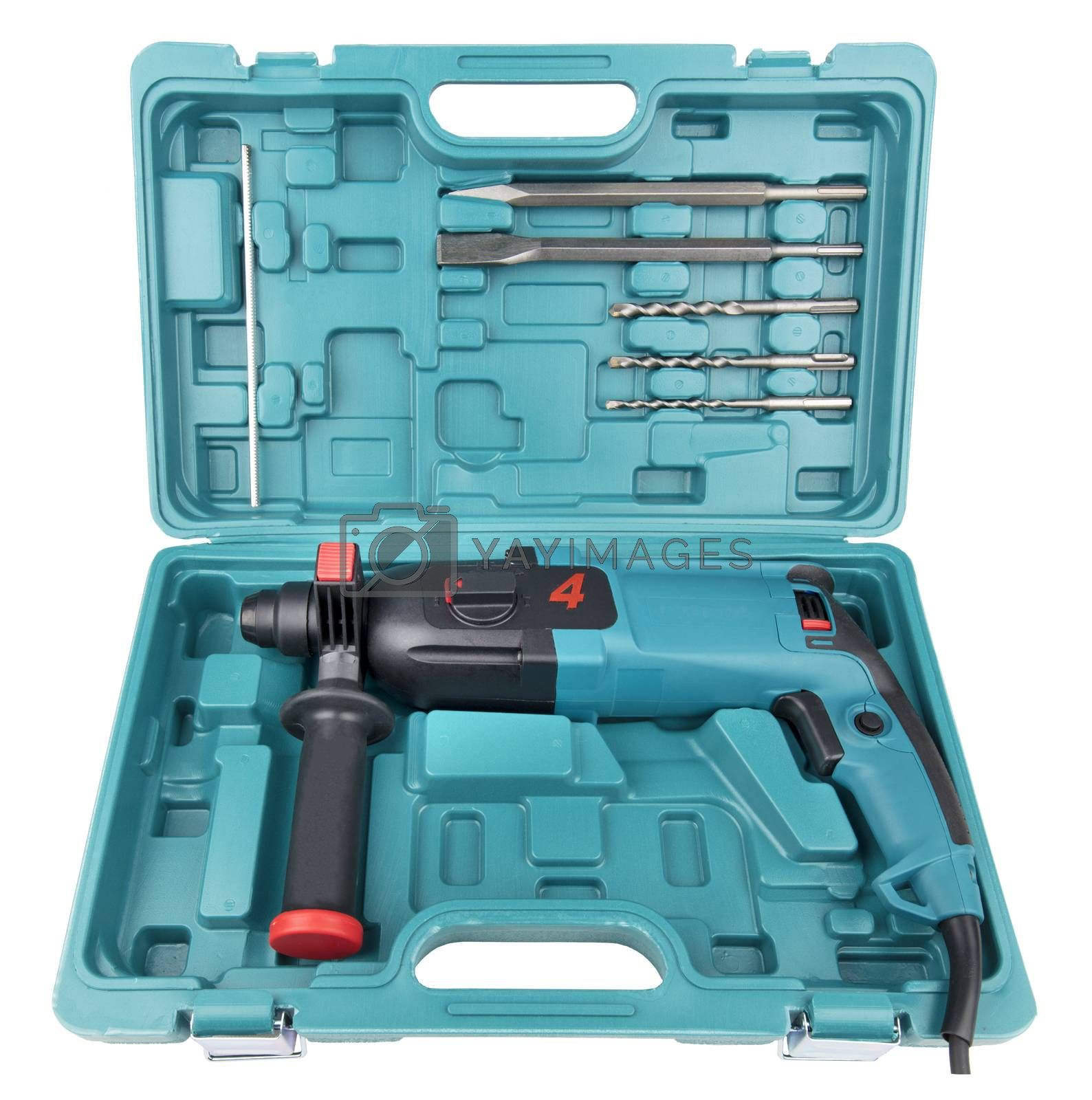 Manual electric drill-puncher of black and turquoise color for professional work in construction c with a set of additional borer attachments, chisel and peak in a convenient portable case isolated on a white background