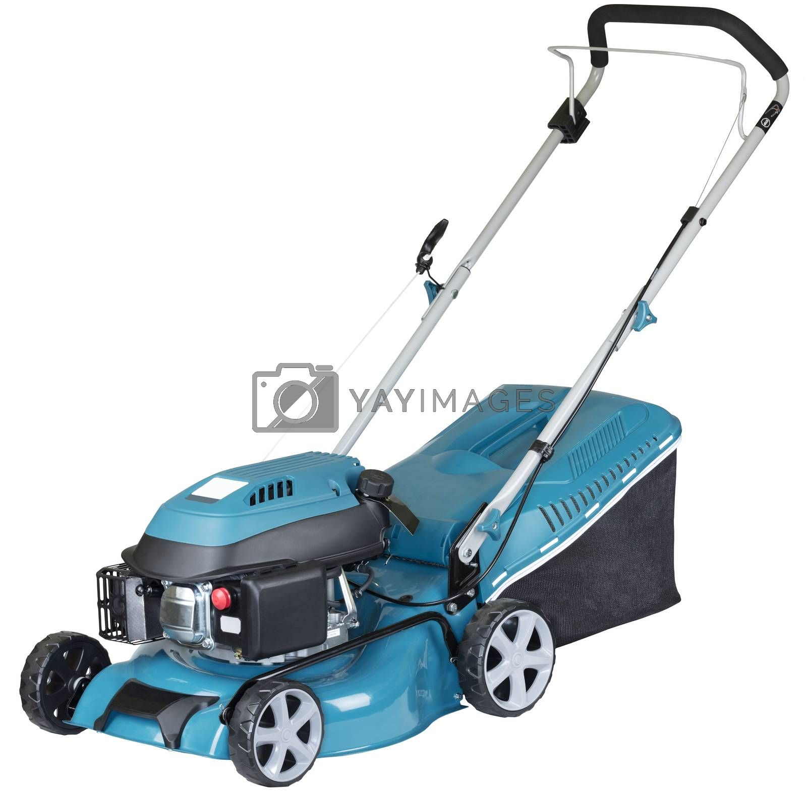 petrol mower on wheels turquoise colour with a bag of grass collector isolated on white background, high resolution, three quarters view