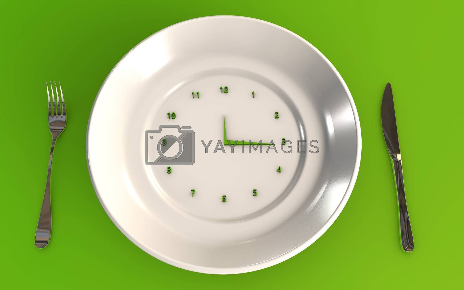 Royalty free image of Time to eat healthy 3d rendered concept with a table plate a knife and a fork by F1b0nacci