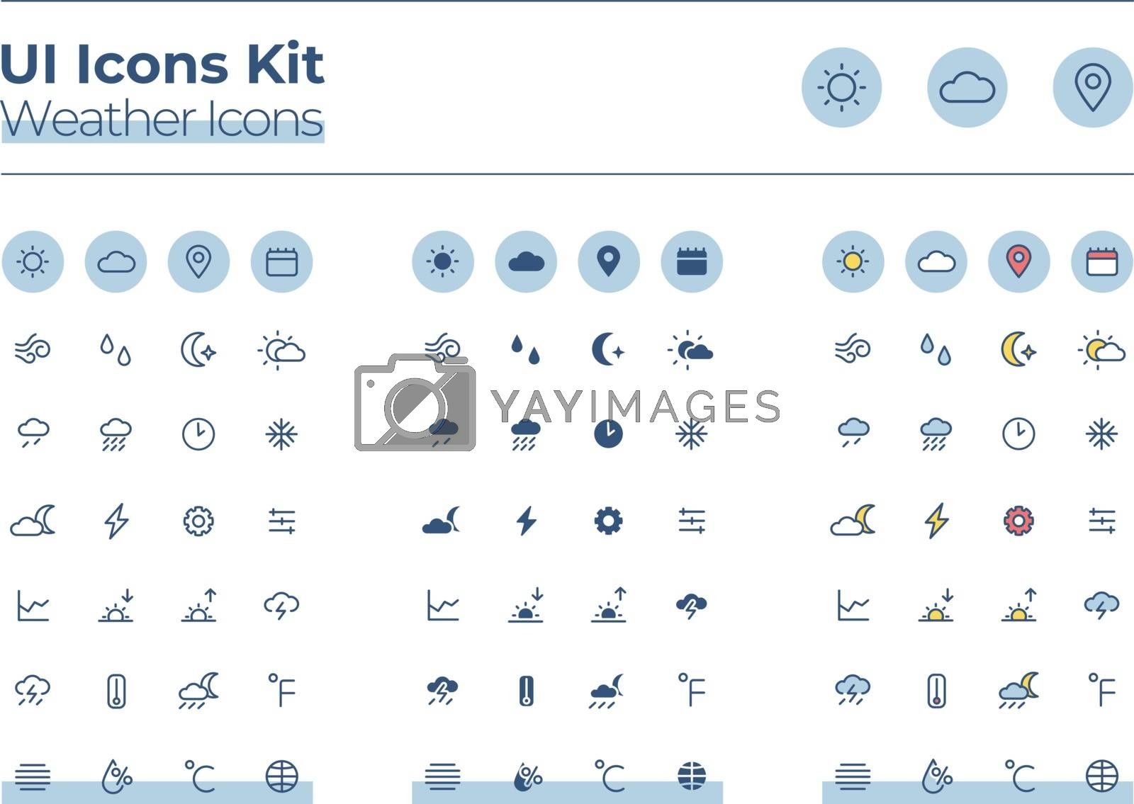 Weather UI icons kit. Forecast thin line, glyph and color vector symbols set. Sunny and cloudy. Warm, cold climate. Meteorology mobile app buttons in blue circles pack. Web design elements collection