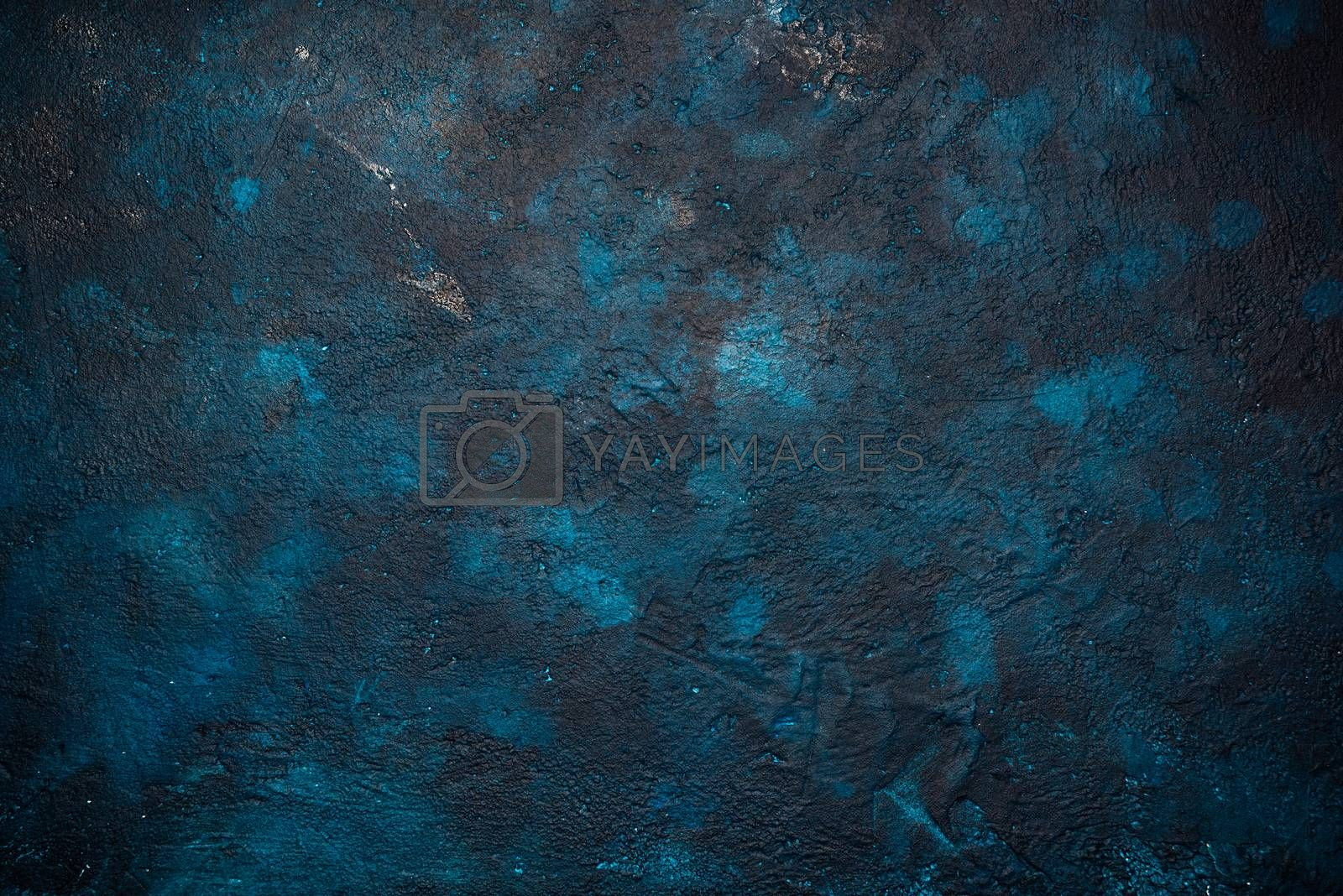 Concrete Painted Blue and Dark Background.