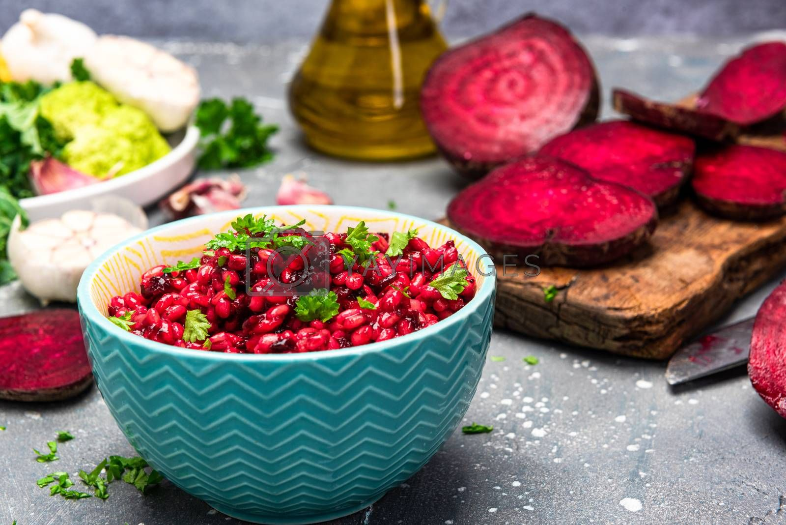 Healthy Brunch in Bowl. Groats and Beetroot Risotto. Green Diet. Plant Based Food. Healthy Living.
