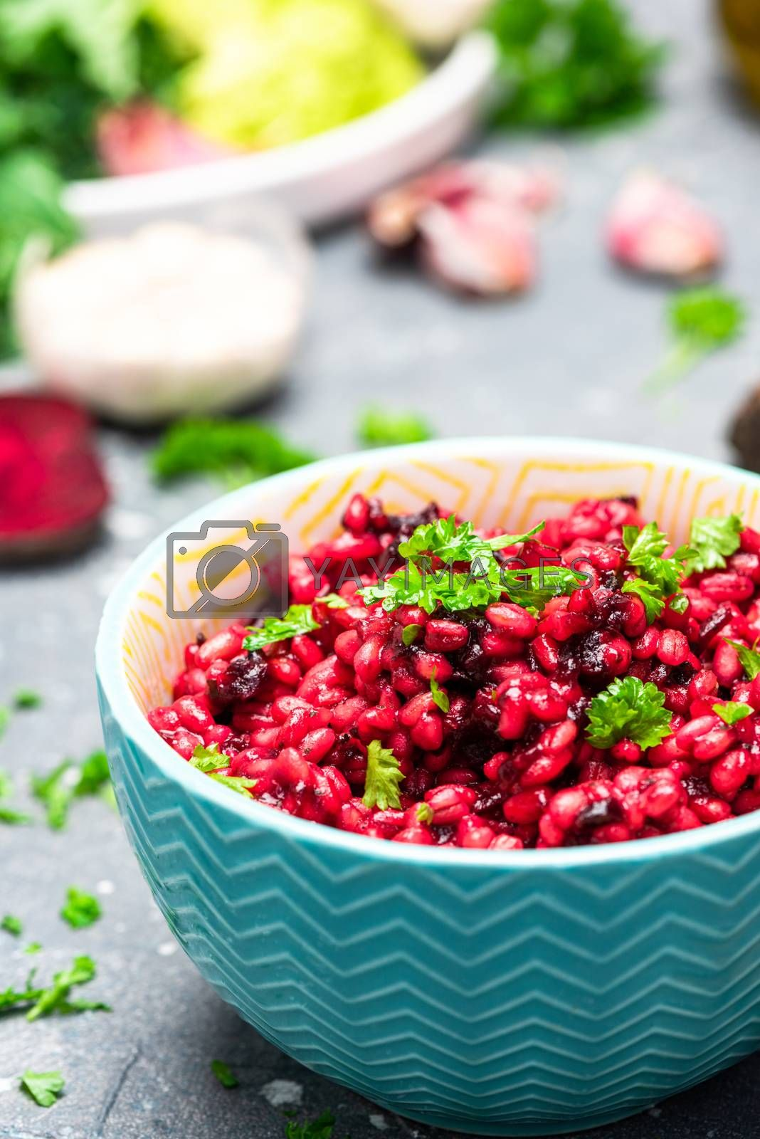 Beetroot and Parsley Buckwheat Groat Dish. Clean Eating. Plant Diet.