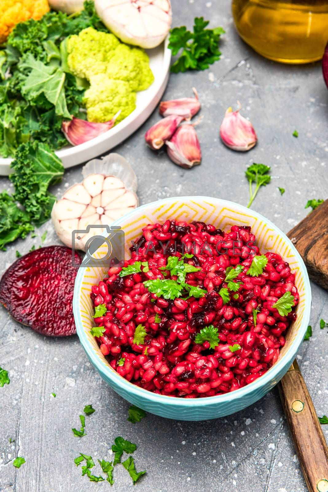 Healthy Eating. Vegetarian Brunch. Beetroot , Parsley and Groats in Bowl.