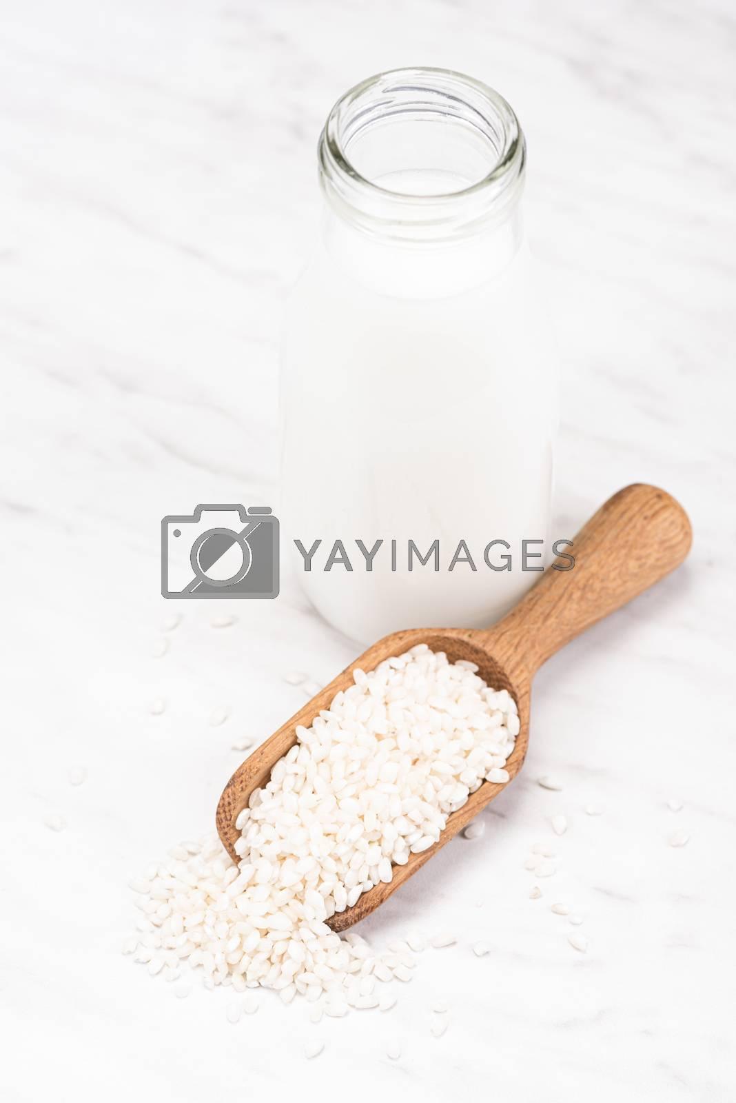 Rice Milk. Alternative Non Dairy Oraganic Milk. Plant Based Food.