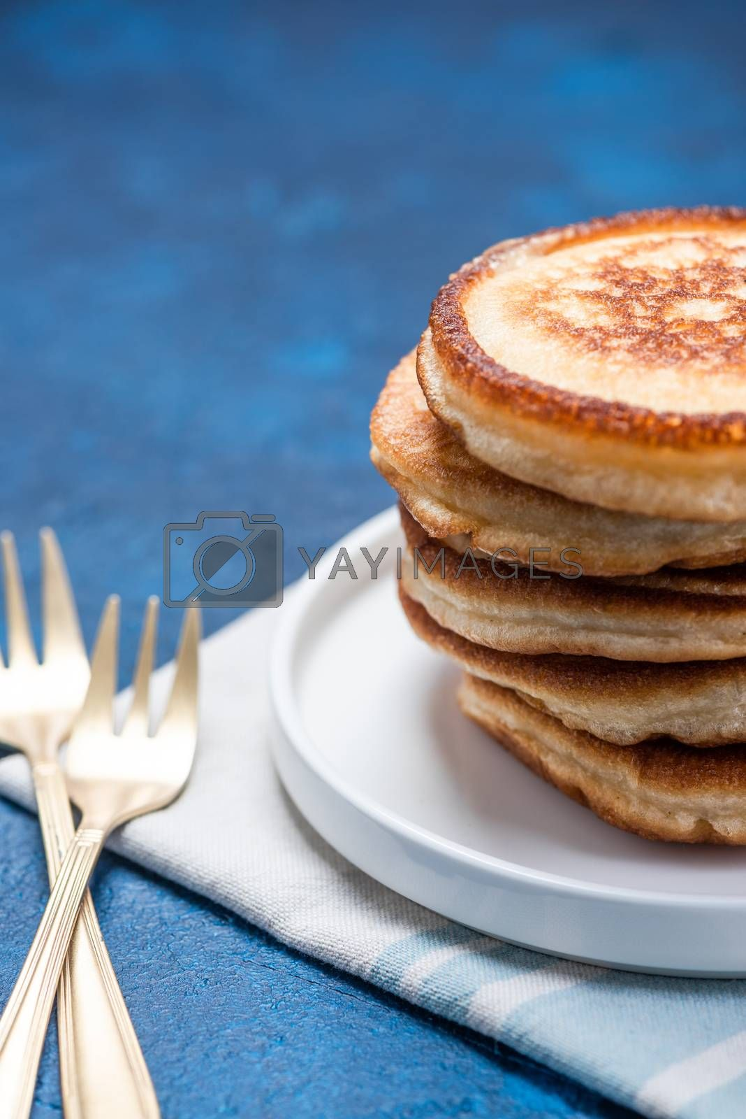 Fresh Fluffy Pancakes Stack on Plate. Copy Space.