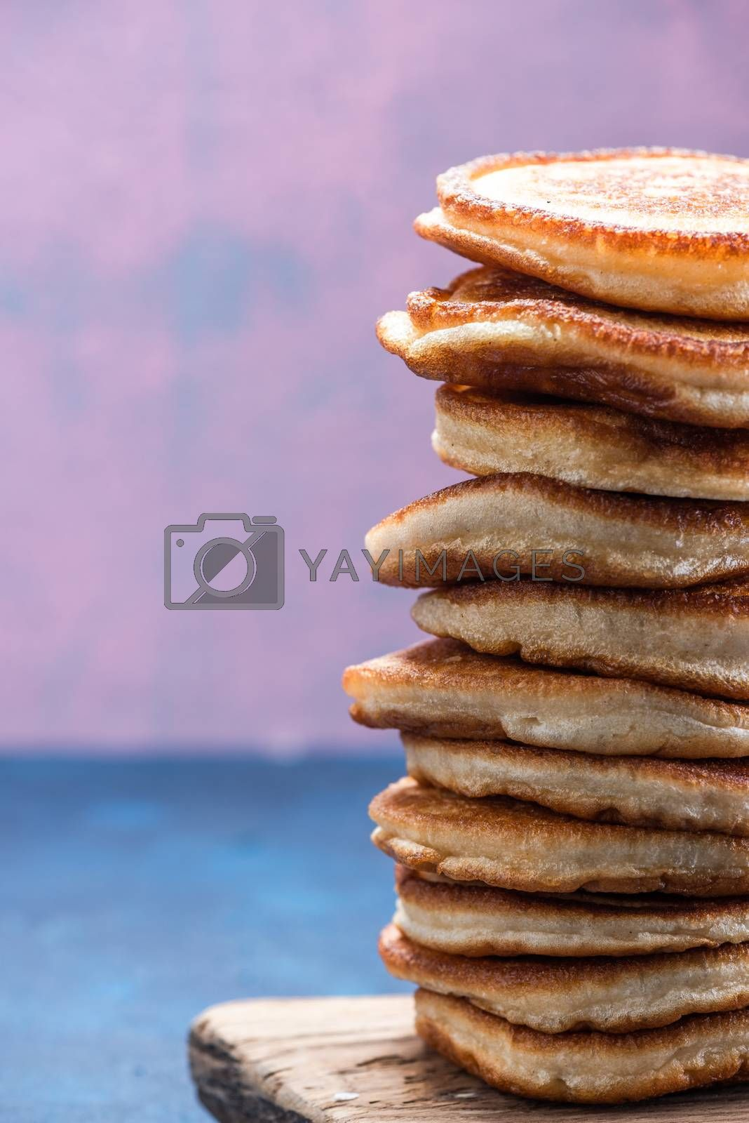 Stack Pile of Pancakes. Pancakes Tower. Copy Space.
