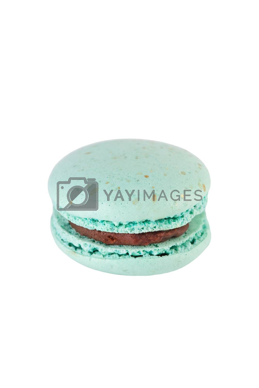 French Macaroon Cookie Isolated on White Background. Close Up Studio Photo.