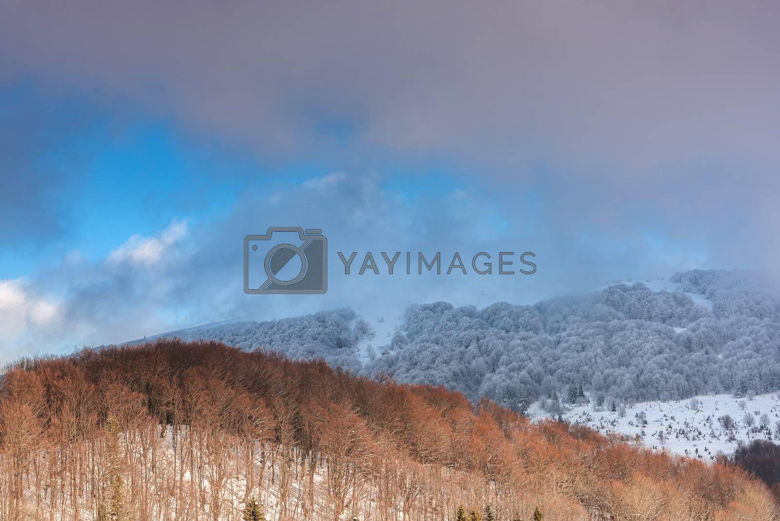 Dramatic and Moody Image of Weather in Mountains at Winter Time by merc67