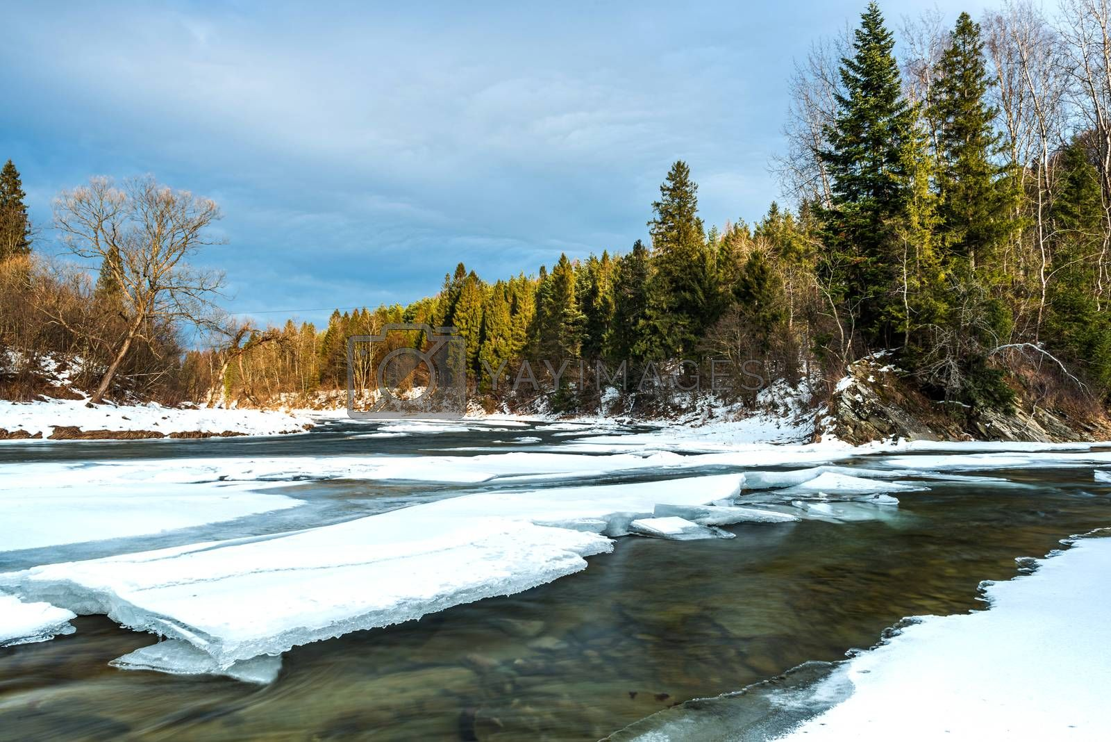 Ice over River San in Bieszczady Mountains at Winter Season by merc67