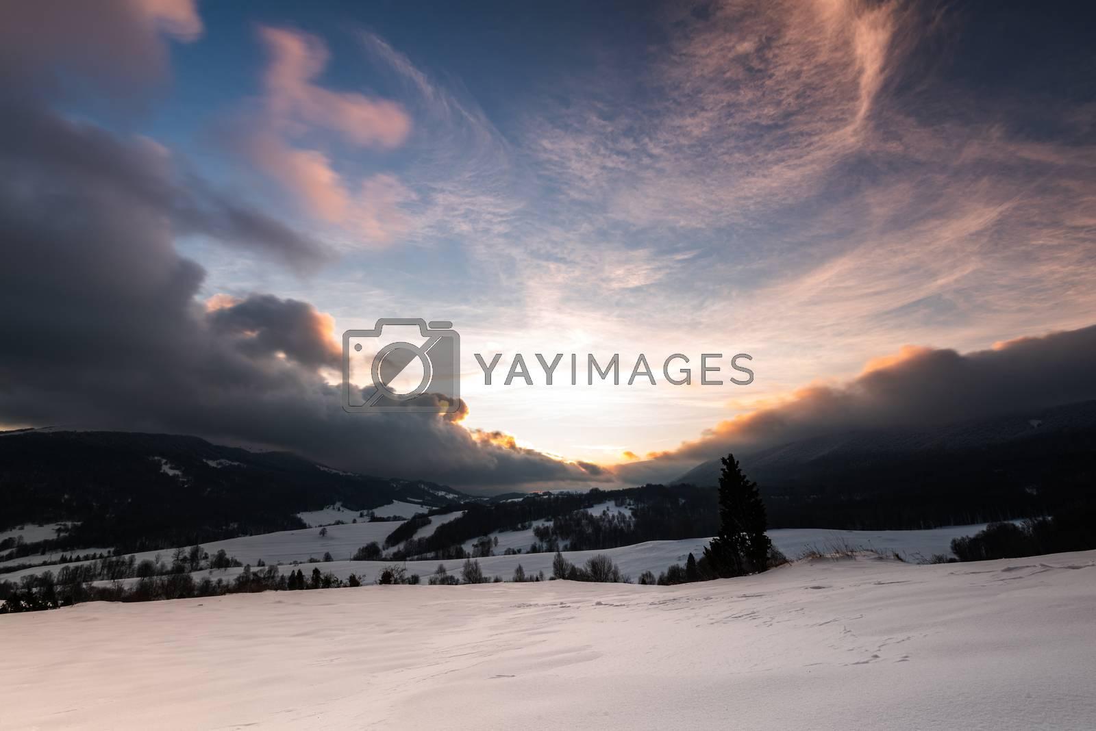 Sunrise at Bieszczady Mountains in Carpathia, Poland at Winter Season.