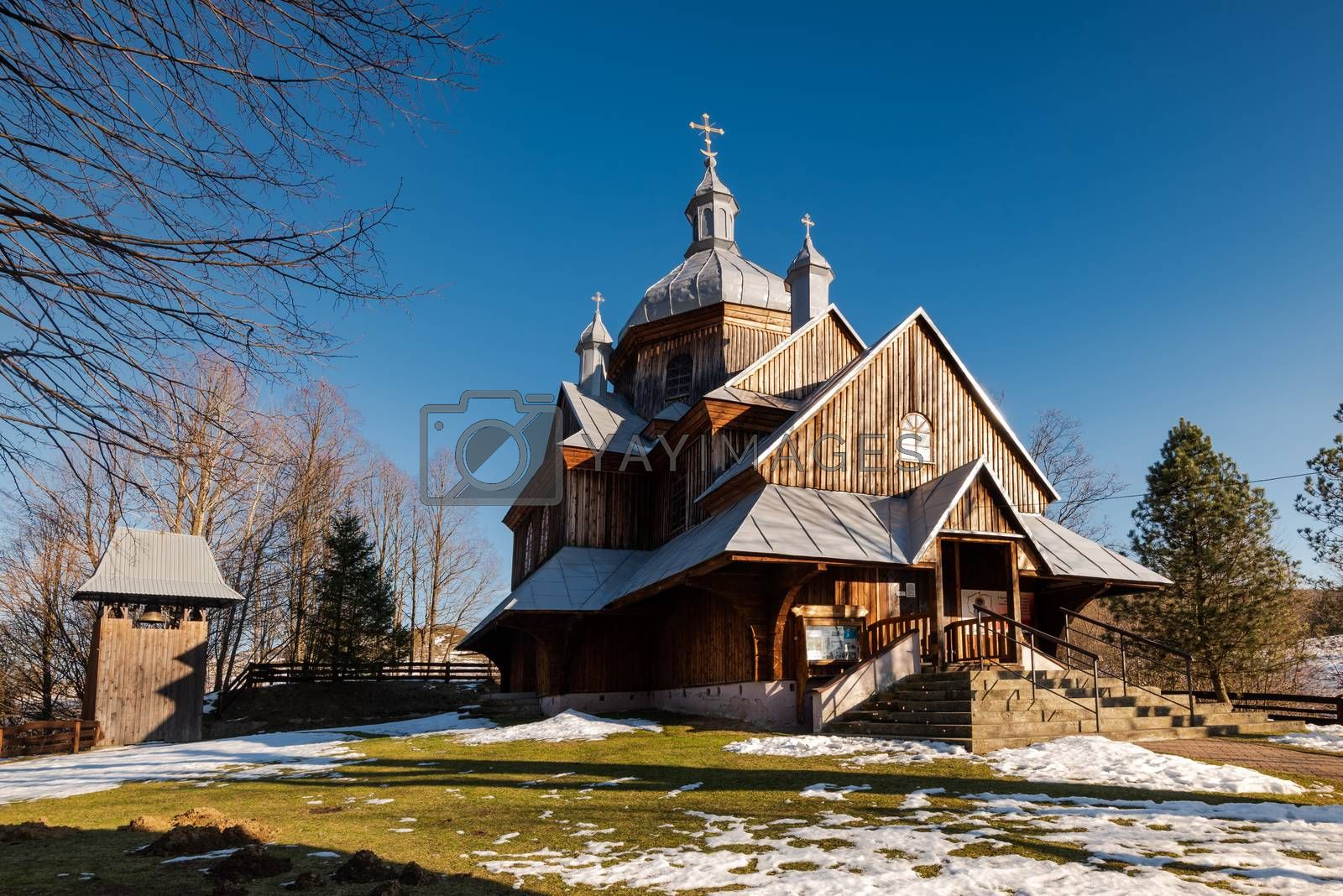 Wooden Orthodox Church in Hoszow. Carpathian Mountains and Biesz by merc67