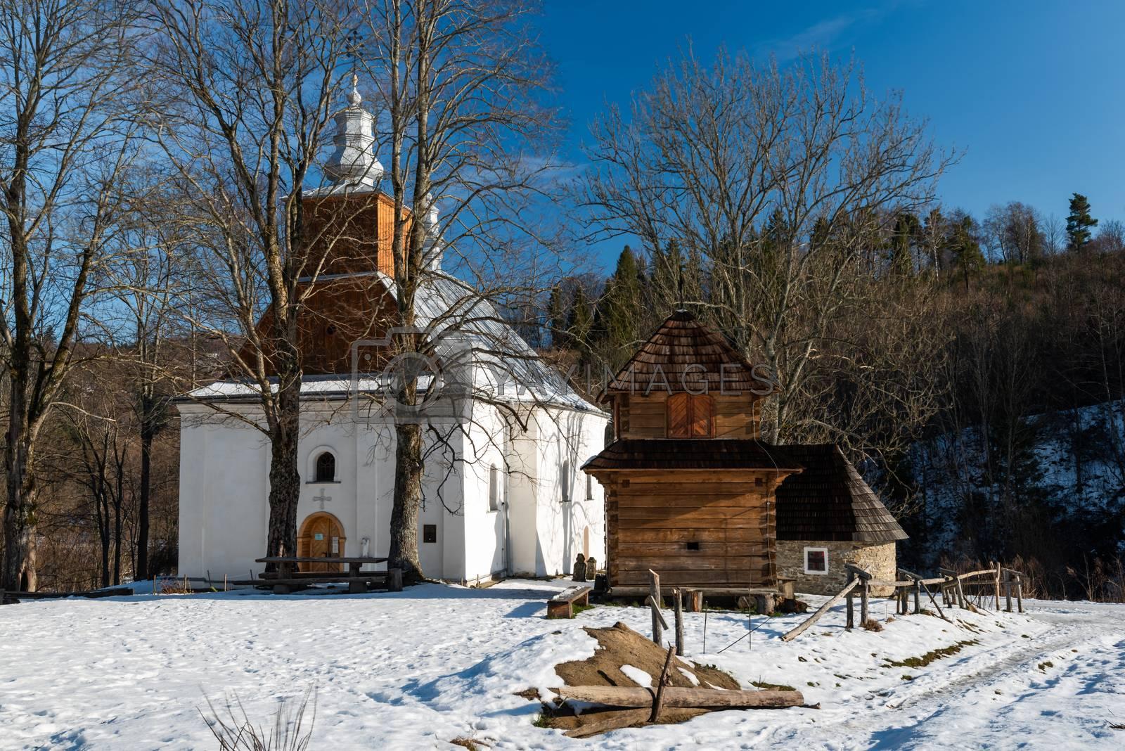 Orthodox Church in Lopienka. Carpathian Mountains and Bieszczady Architecture in Winter.