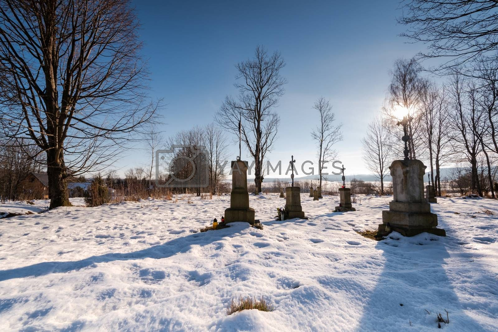 Small Cemetary in Bieszczady Village Bystre at Winter Time Cover by merc67