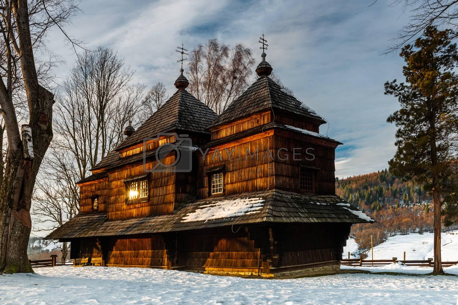 Exterior of Smolnik Wooden Orthodox Church.  Bieszczady Architec by merc67