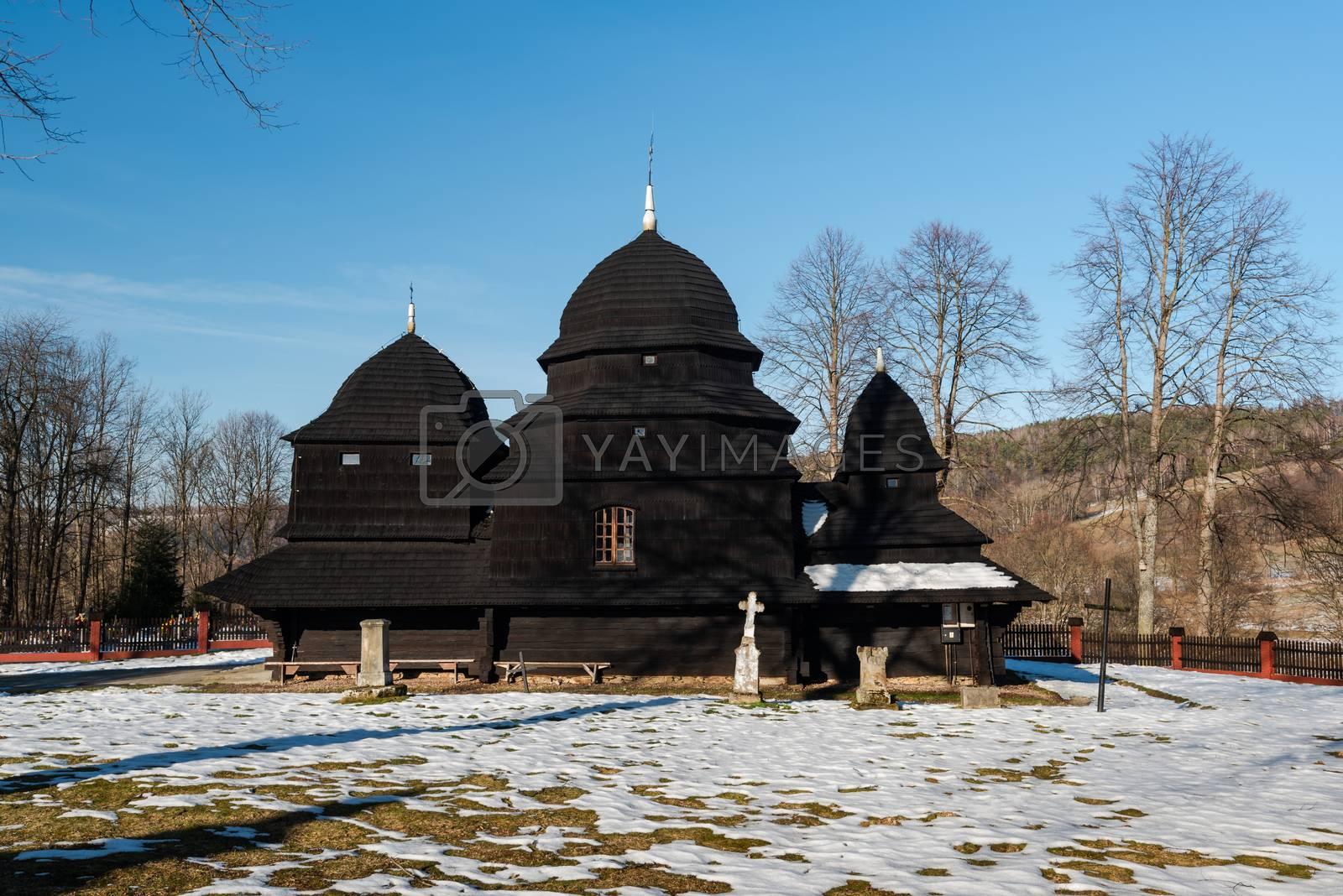 Exterior of Rownia Wooden Orthodox Church.  Bieszczady Architect by merc67