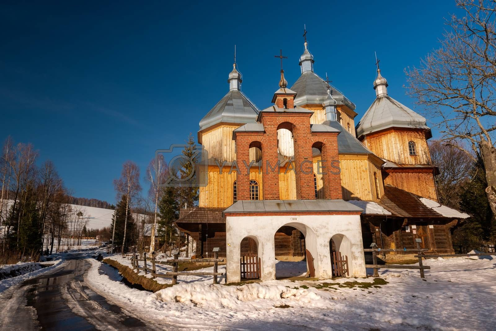 Wooden Orthodox Church in Bystre. Carpathian Mountains and Biesz by merc67