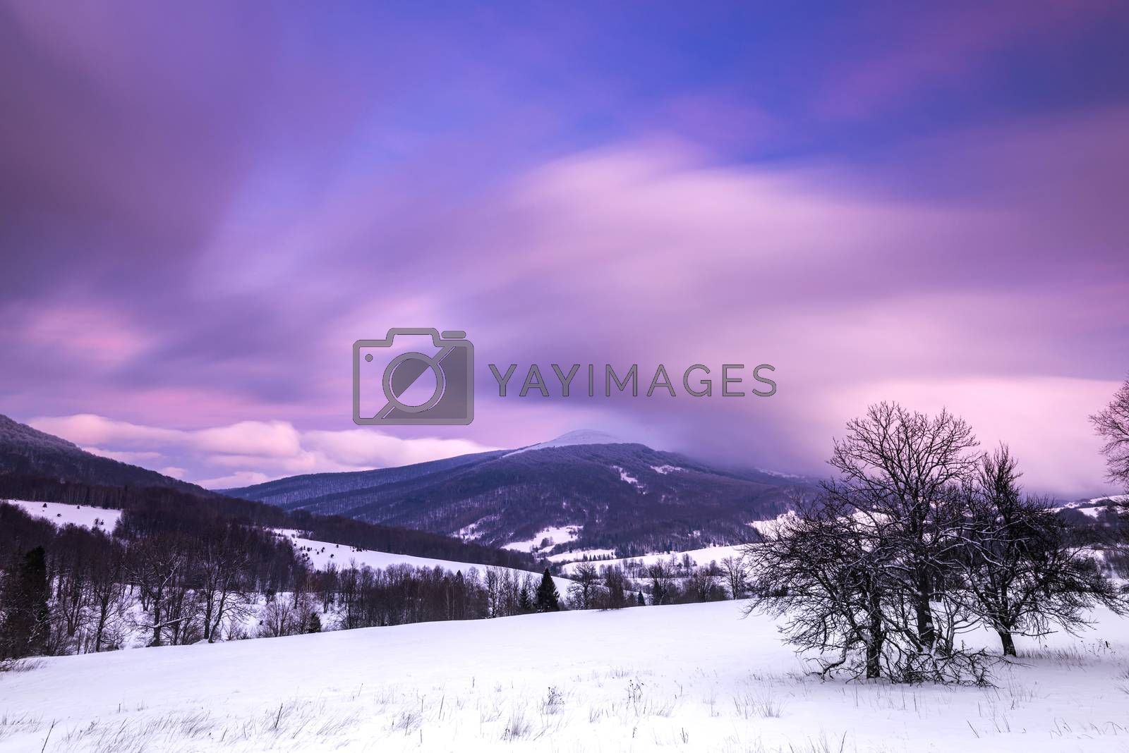 Pastel Pink Sunrise over Bieszczady Mountains in Poland. Long Ex by merc67