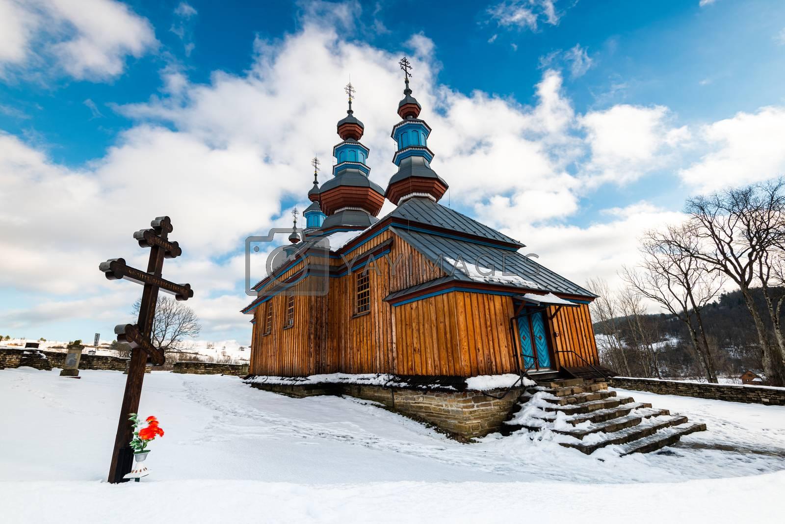 Exterior of Komancza Wooden Orthodox Church.  Bieszczady Archite by merc67