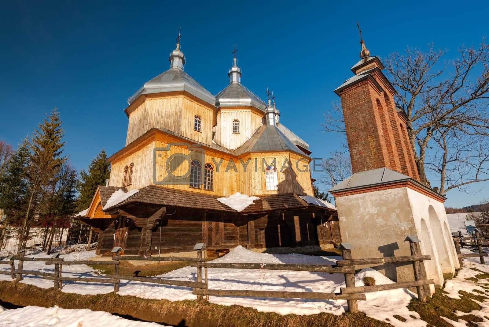 Exterior of Bystre Wooden Orthodox Church.  Bieszczady Architect by merc67
