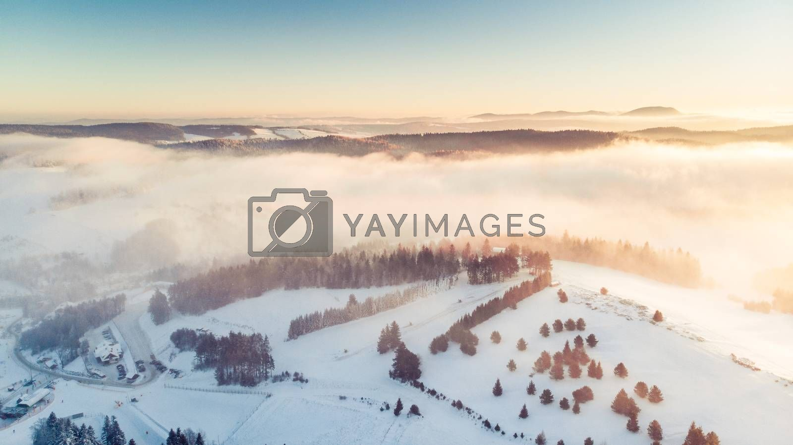 Aerial Panoramic View Over Valley in Winter Season. Slotwiny nea by merc67