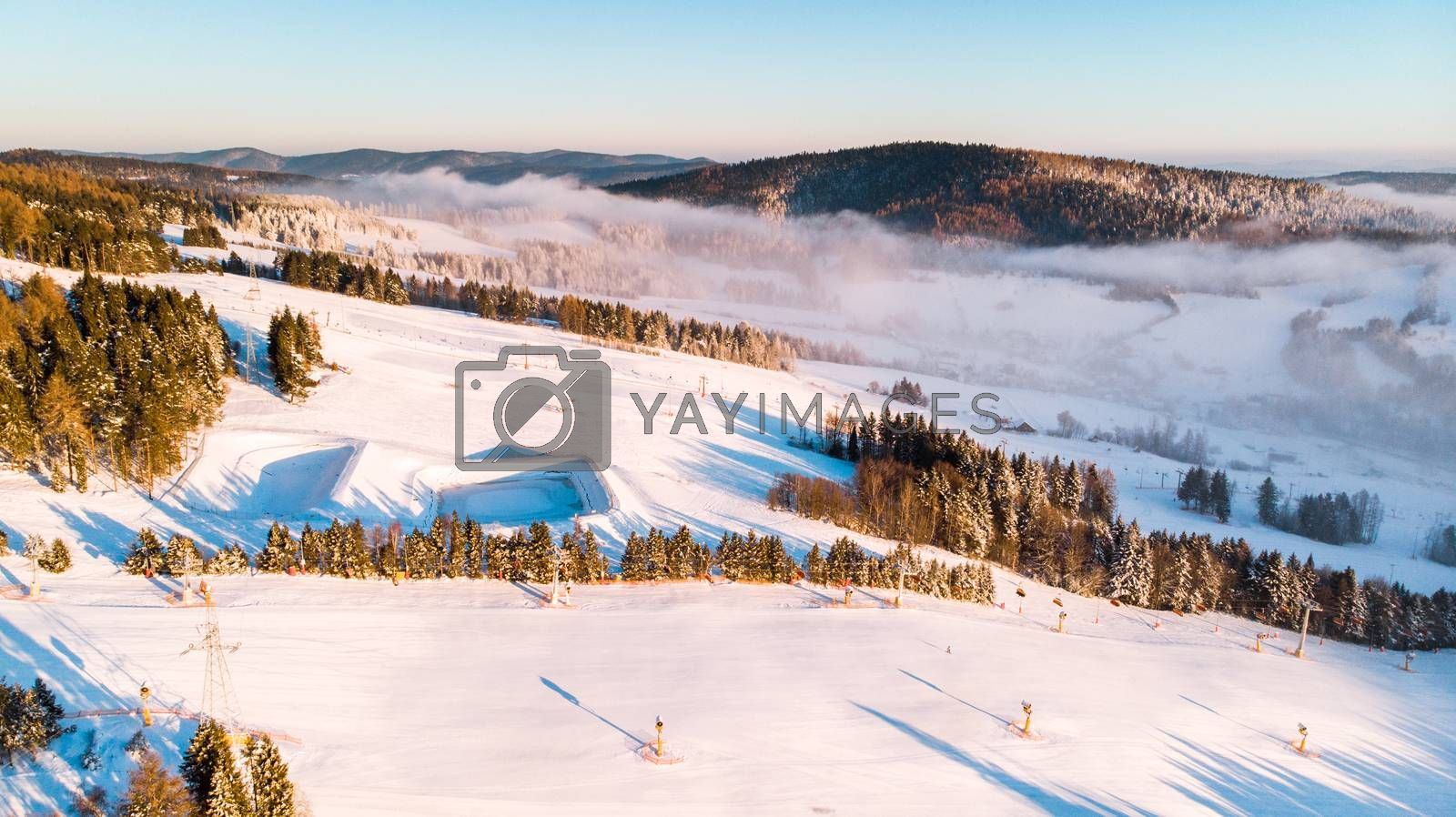 Slotwina Ski Lift near Krynica in Poland at Sunrise in Winter Se by merc67