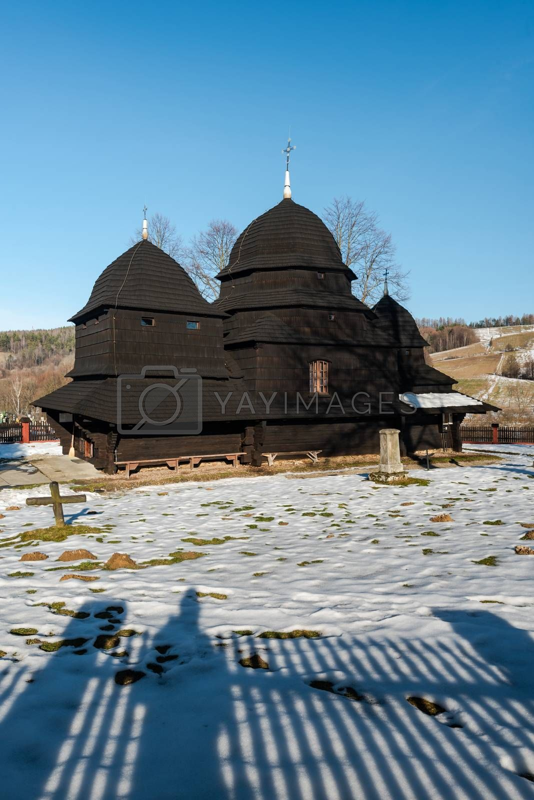 Wooden Orthodox Church in Rownia. Carpathian Mountains and Biesz by merc67