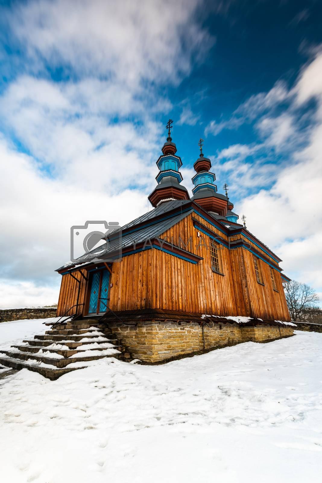 Komancza Wooden Orthodox Church. Carpathian Mountains and Bieszc by merc67
