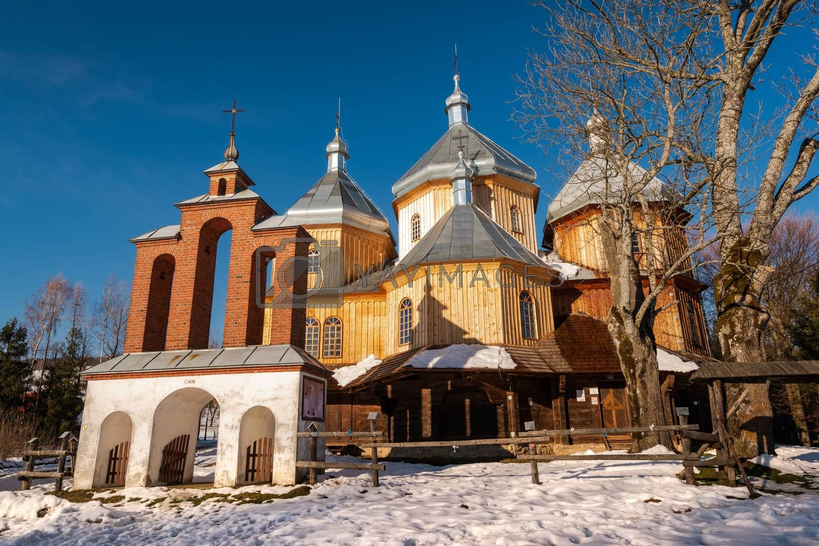 Exterior of Bystre Wooden Orthodox Church.  Bieszczady Architecture in Winter. Carpathia Region in Poland.