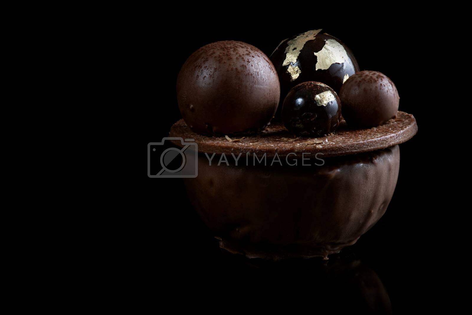 Artisan Monoportion Cake. Handmade Chocolate Dessert. Black Back by merc67