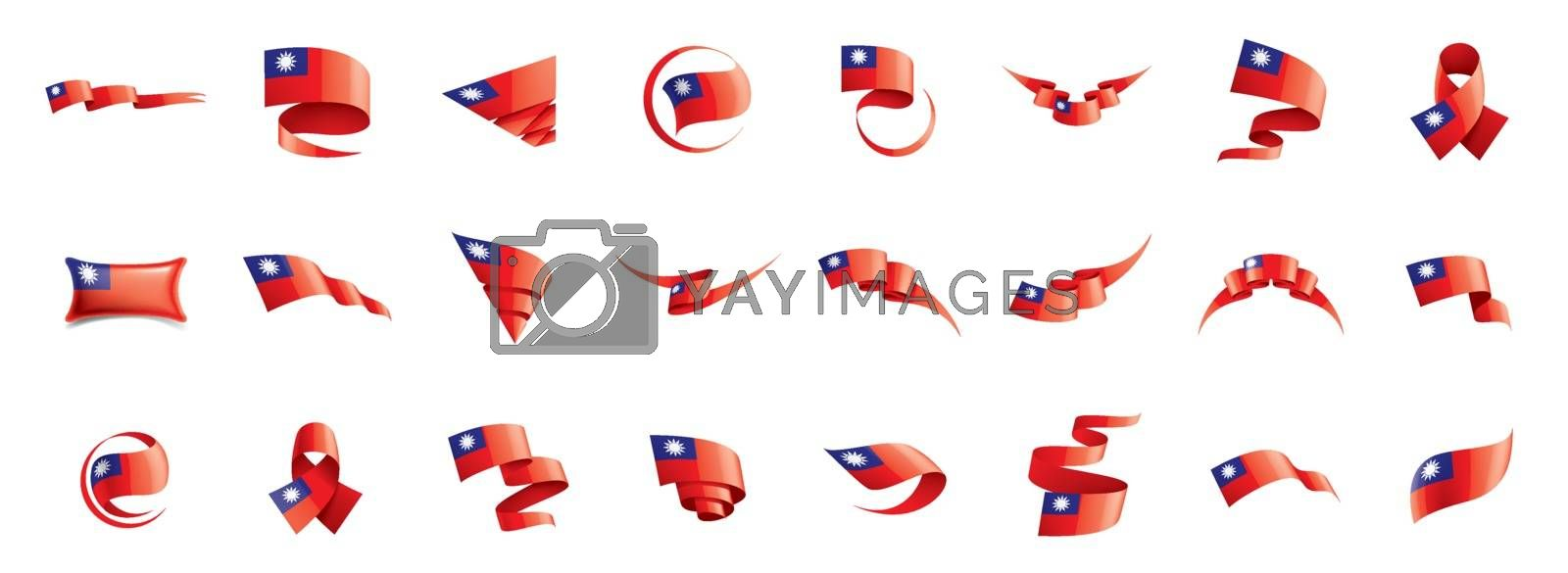 Taiwan flag, vector illustration on a white background by Butenkov