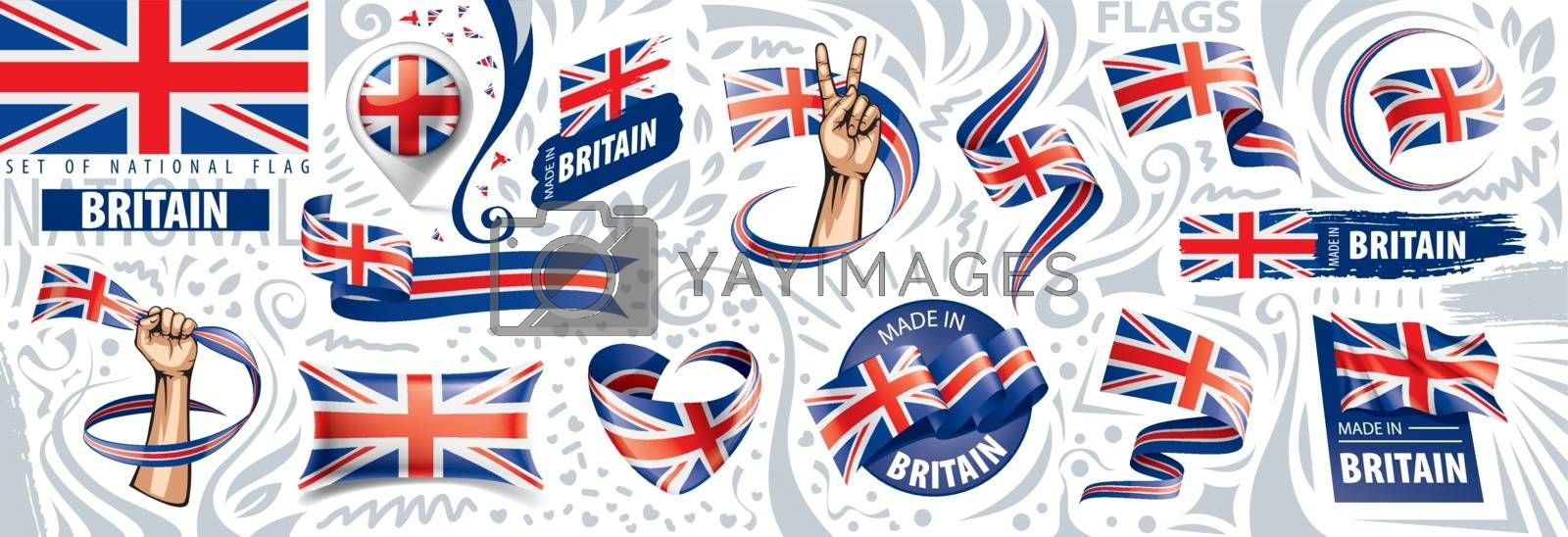 United Kingdom flag, vector illustration on a white background by Butenkov